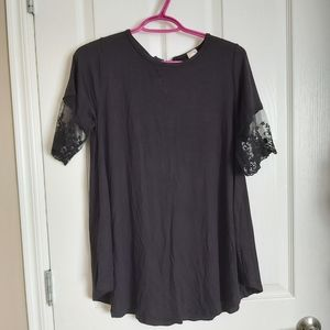 NWOT Black Lace Sleeve Top